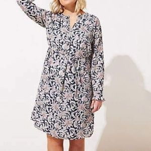 Loft Plus Vine Ruffle Shirt Dress